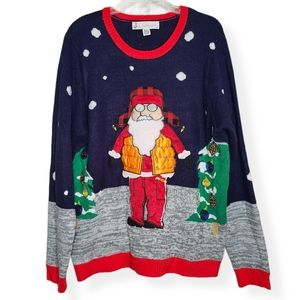 Jolly Sweaters Holiday Sweater Santa Pullover XL